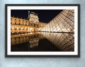 Paris Photography, Lourve Art Museum, Paris by Night, French Kitchen Art, Paris Print, Francophile Gift, Night Photography