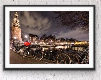 Amsterdam Photography, Amsterdam Canals, Amsterdam Bikes, Modern Art Decor, Night Photography, Kyle Spears