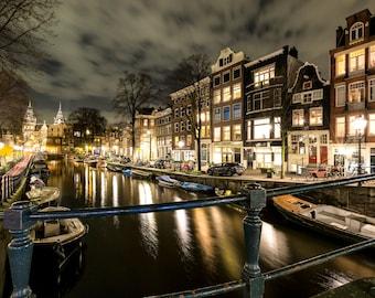Amsterdam Photography, Amsterdam Canals, Amsterdam Decor, Modern Art Decor, Night Photography, Kyle Spears