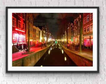 Amsterdam Photography, Amsterdam Red Light District, Amsterdam Brothels, Modern Art Decor, Night Photography, Graduation Gift