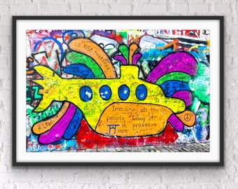 Prague Photography, John Lennon Peace Wall, Prague Wall Art, The Beatles, Living Room Art, Music Room Art Print, Kyle Spears