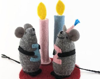 Birthday mouse, cake topper mouse, mouse and candle, waldorf toy, waldorf birthday, birthday toy, toy with number, toy mouse,