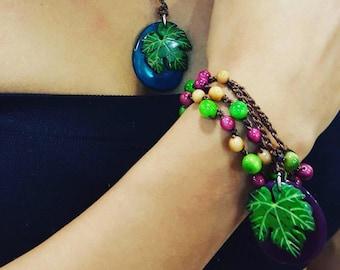 Tagua nut wrap bracelet or necklace/ grape necklace/leaf necklace/ wrap bracelet/braided bracelet/by Allie/wine jewelry