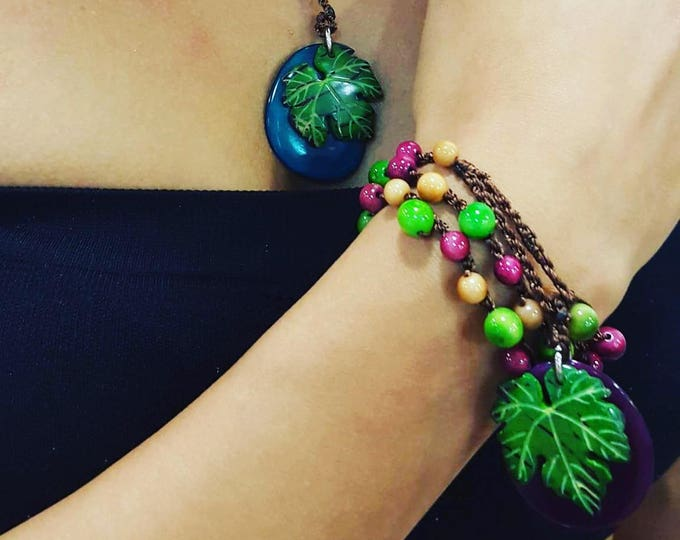 Tagua nut wrap bracelet or necklace/ grape necklace/leaf necklace/ wrap bracelet/braided bracelet/by Allie/wine jewelry