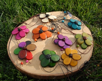 Smart flower in Tagua multiwear bracelet,ring,necklace,anklet,belt many colors