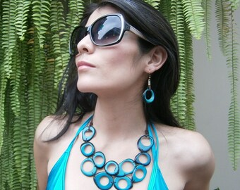 Turquoise bib Tagua nut necklace / Wooden jewelry/ Handmade Eco friendly jewelry/Sustainable Statement necklace /Boho jewel