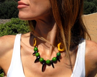 Bear's Fortress/ tribal tagua necklace/Alaska/choker necklace/statement necklaces/necklaces for women/handmade jewelry/badass necklace