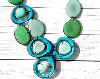 Caribbean Girl aqua turquoise and teal tagua nut necklace/tagua bib/ocean colors necklace/turquoise necklace/Organic Jewelry by Allie