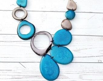 Island girl Hawaiian Turquoise necklace/ Asymmetrical Bib /Colorful tropical Necklace/ Tiki Jewelry/Resort tagua jewel