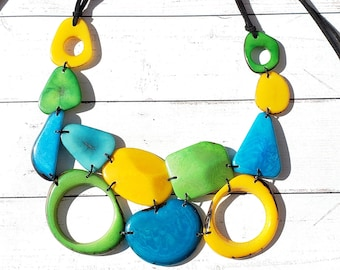 Twisted geometric/ geometrical tagua bib by Allie/ striking colors/ summer jewels/winter berry necklace