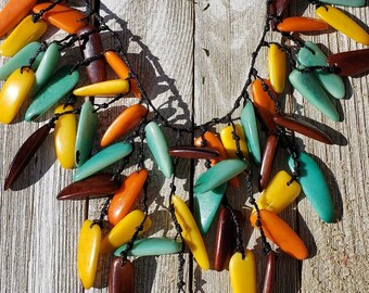 tagua waterfall yellow necklace/ statement necklace/leaves necklace/chunky necklace/bold jewel/diva jewelry