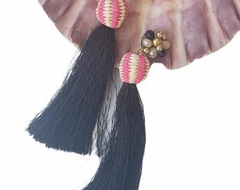 Beaded Super long black silk tassels earrings/OOAK Straw rattan black earrings/Handmade wire wrap earrings/Beach straw earrings/Eco jewelry