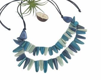 UnisexTribal tagua blues necklace/  Blue Shaman necklace necklace / Statement necklace/ Ecofriendly jewelry/ Ethical  jewelry/Slow fashion