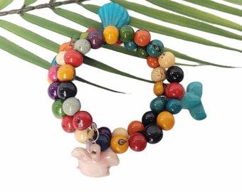 Marine life bracelet/ Rainbow sea life bracelet/ Wire Wrapped stacked acai bracelet/Beach bracelet/Ocean Jewelry