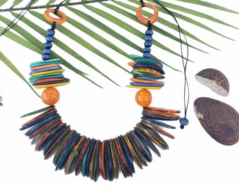 Tagua multicolor Chunky Statement necklace/ Tiki Jewelry/Beach jewelry /Tropical jewelry/Sustainable fashion gifts