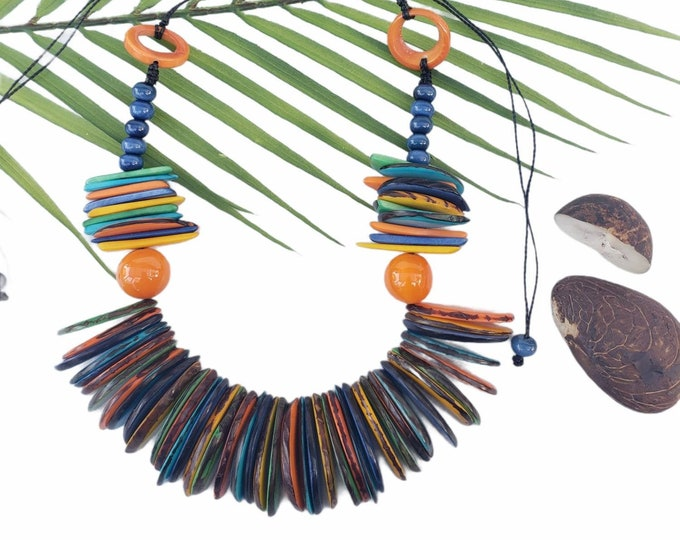 Featured listing image: Tagua multicolor Chunky Statement necklace/ Tiki Jewelry/Beach jewelry /Tropical jewelry/Sustainable fashion gifts