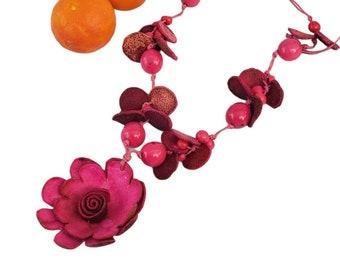 Orange peels Flower necklace/  Recycled Orange peels Necklace/Statement Bohemiam necklace/Handmade necklaces/Organic vegan leather jewelry