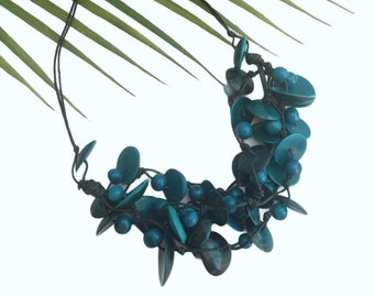 Chunky Turquoise necklace/Tagua necklace/Statement Handmade jewelry/Green Eco friendly necklace/ Rainforest jewelry/Gifts for her/ by ALLIE