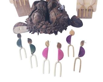 Minimalistic dangle tagua earrings/ Modern gold earrings/Colorful geometric earrings/Boho chic elegant earrings/Fair jewelry/