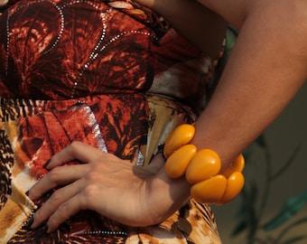 Tagua nut chunky bracelet / Colorful bracelet/ Statement cuff Bracelet /Funky Mod Bracelet/ Bohemian cuff/ Eco jewel by ALLIE