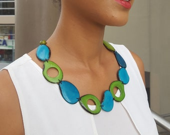 Peek a boo/ tagua necklace/tropical necklace/beach necklace/teal necklace/turquoise necklace by Allie/statement necklace
