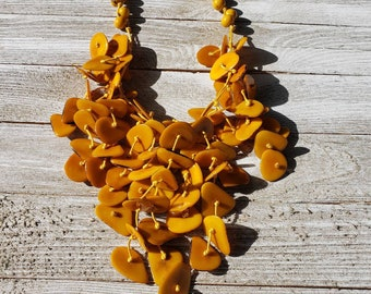 Tagua cascade necklace/red waterfall necklace/  turquoise tagua necklace/ yellow tagua necklace