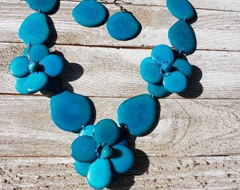 Roses woven tagua nut necklace set by Allie in striking colors/statement necklace/anchor necklace/ bridal jewelry