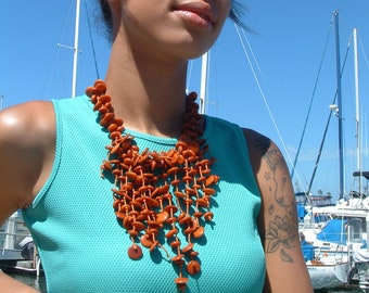 Tagua waterfall orange necklace/ Tagua cascade necklace/Pink Necklace/Statement jewelry/Chunky handmade necklace/ Eco jewelry