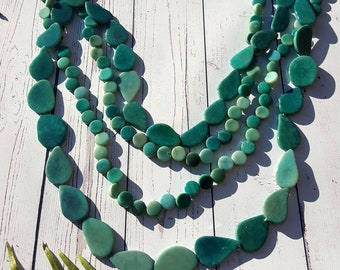 South Seas teal long tagua necklace/ ocean colors necklace / beach jewelry/tiki oasis jewel/handcrafted jewelry
