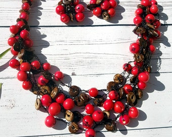 Acai berries & coconut hand crocheted necklace/collar necklace/handmade necklace/artisan jewelry /by Allie