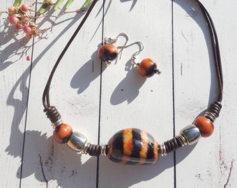 Choker necklace/ tiger choker /tagua nut choker/leather choker/ tiger choker/by Allie