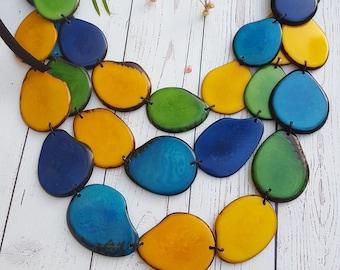 Natalia green blue necklace/ Tagua aqua blue layered Necklace/ Layered long necklace by Allie/Ocean jewelry/ Statement long necklace