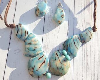 Glacier Bay Asymmetrical tagua choker necklace/ diva necklace/anchor necklace/ statement necklace/ aqua necklace  inspired in Alaska