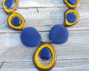 Selva Medallion Tagua necklace / bold jewelry/tropical necklace/pendant necklace/handmade jewelry/statement jewelry/colorful jewelry