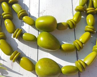 Tagua nut chunky necklace/ beaded necklace/ long necklace/ layered necklace/ statement necklaces