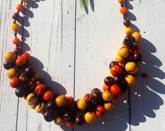 Vegan acai berry braided necklace/ beaded necklace/chunky necklace/bold necklace/by Aliie