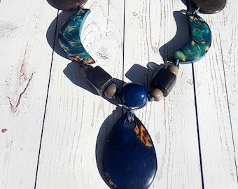 Tagua medallion necklace/ blue necklace/ orange necklace/ red necklace/ green necklace/ chunky jewelry by Allie