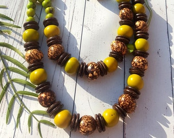 Tagua nut chunky necklace/statement necklace/layers necklace/long necklace/ beaded necklace/by ALLIE