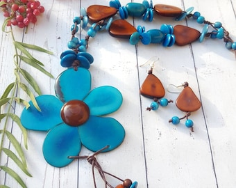 Flower tagua necklaces/statement necklace/ bold necklace/handmade necklaces/gift ideas/by Allie