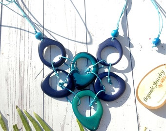 Tagua necklace / rings necklace/infinity necklace/ bib necklace by Allie/aqua necklace/ Yellow green necklace