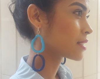 Dangling long tagua hoop earrings/ color block earrings/many colors/mother's day gift/statement jewelry