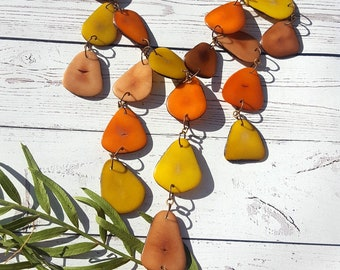 Waterfall tagua necklace/Cascade necklace/ Petals necklace/ Earth tones necklace/ Handmade necklace/ by Allie