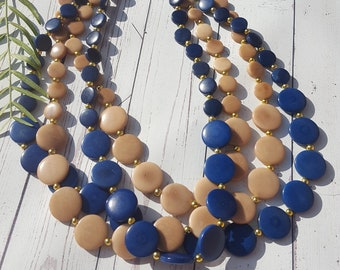 Gift for her/ Gift for Mom/ Tagua nut blue long necklace/ Women tagua necklace/ Statement Jewelry/ Eco Friendly fair