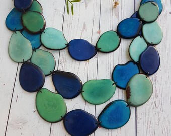 Natalia Eco-friendly colorful/ tagua nut tagua bold layered necklace by Allie/Ocean colors/turquoise&orange