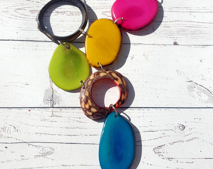 Tagua asymmetrical minimalist multicolor bib with silver chain by organic jewelry by Alli