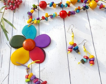 Flower rainbow necklace/Tagua necklace/Bold necklace/Colorful Necklace/Gift ideas/Handmade jewelry by ALLIE/ ECOJEWELRY Sustainable fashion