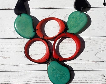 Wild FLora  Aqua / Statement  aqua red Tagua necklace/ Bold jewelry/Tropical necklace/Tiki and resort beach  jewelry by  Allie