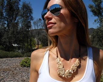 Glacier Bay Asymmetrical tagua choker necklace/ diva necklace/anchor necklace/ statement necklace/ badass necklace  inspired in Alaska