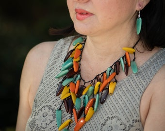Tagua waterfall aqua necklace/ multicolor necklace/ statement necklace/leaves necklace/chunky necklace by Allie