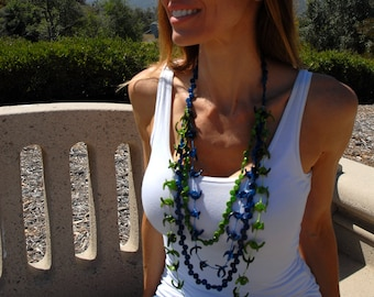 Lei lariat tagua  layered necklace/ ocean colors necklace/long necklace / beach jewelry/Hawaiian jewelry/handcrafted jewelry